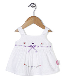 Chocopie Sleeveless Frock Floral Embroidery - White & Purple