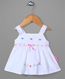 Chocopie Sleeveless Frock Floral Embroidery - White Pink