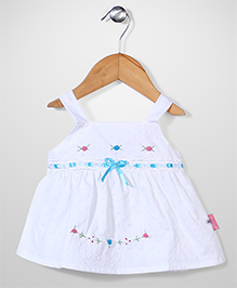 Chocopie Sleeveless Frock Floral Embroidery - White Blue