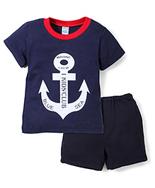 Super Baby Marine Print Tee & Pant Set - Navy Blue
