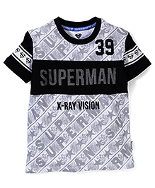 Superman Printed Half Sleeves T-Shirt - White Black