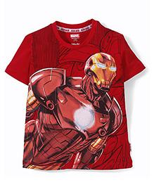 Marvel Half Sleeves T-Shirt Iron Man Print - Red