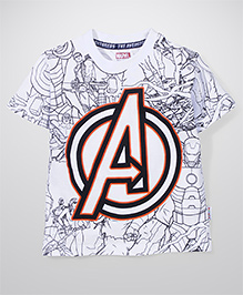 Marvel Half Sleeves T-Shirt Avenger Logo - White