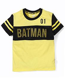 Batman Printed Half Sleeves T-Shirt - Yellow