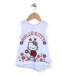 Hello Kitty Printed Asymmetrical Top - White