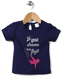 Flight Deck by Babyhug Short Sleeves Top Dreams Take Flight Print - Navy