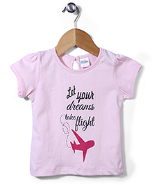 Flight Deck by Babyhug Short Sleeves Top Dreams Take Flight Print - Pink