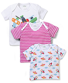 Babyhug Half Sleeves Top Multi Print Pack Of 3 - White & Pink