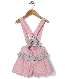 De Berry Polka Dot Shorts with Suspenders - Pink