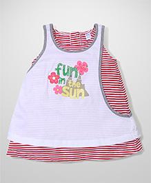Childhood Stripe Dress With Fun In The Sun Print- Pink