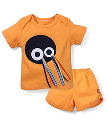 Childhood Owl Print Tees & Pant Set - Orange