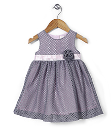 Bebe Wardrobe Flower & Lace Dress - Grey