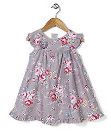 Bebe Wardrobe Flower Print Dress - Light Grey