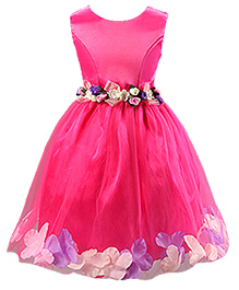 Peach Girl Satin Dress With Flowers - Pink