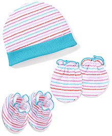 Babyhug Cap Mittens And Booties Set Stripes Pattern - Multi Color