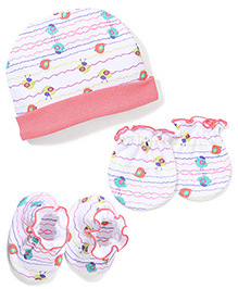 Babyhug Cap Mittens And Booties Set - Multi Color