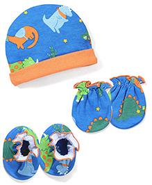 Babyhug Cap Mittens And Booties Set - Blue