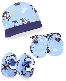 Babyhug Cap Mittens And Booties Set Printed - Sky Blue