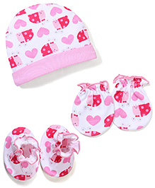 Babyhug Cap Mittens And Booties Set Heart Print - White And Pink