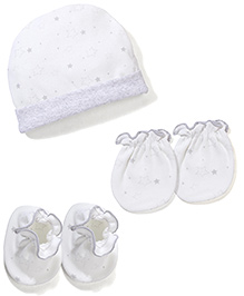 Babyhug Cap Mittens And Booties Set - Off White