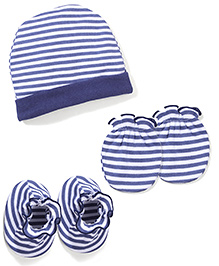 Babyhug Cap Mittens And Booties Set Stripes Pattern - White And Navy