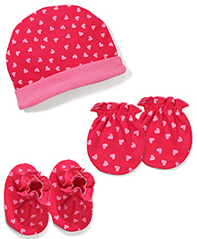 Babyhug Cap Mittens And Booties Set Heart Print - Pink