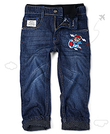 Flight Deck by Babyhug Jeans Teddy Pilot Embroidery - Dark Blue