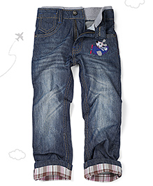 Flight Deck by Babyhug Jeans Doggy Pilot Embroidery - Dark Blue