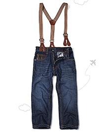 Flight Deck by Babyhug Jeans With Suspenders - Dark Blue