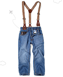 Flight Deck by Babyhug Jeans With Suspenders - Light Blue