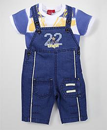 Mickey Dungaree Half Sleeves T-Shirt & Dungaree Set - Dark Blue & Yellow