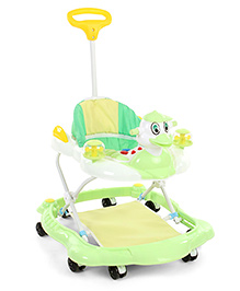 Musical Animal Face Baby Walker With Push Handle - Green & White