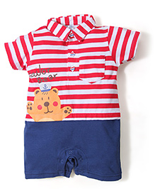 Childhood Sailor Bear Print Romper - White & Red