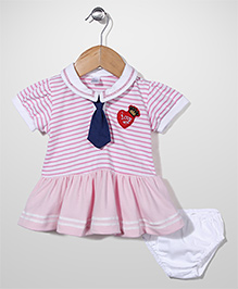 Childhood I Love You Print Frock With Bloomer - Pink & White