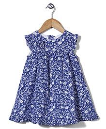 Bebe Wardrobe Flower Print Dress - Navy Blue