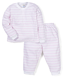 Super Baby Stripe Print Night Suit - Pink