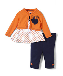 Starters Doted Print Top & Legging Set - Orange & Blue