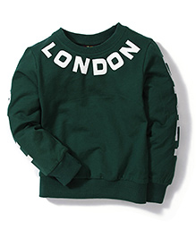 Mini Pink London Print Sweat Shirt - Green