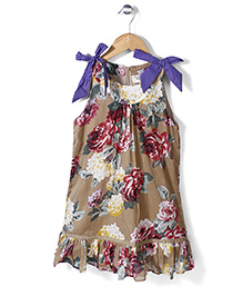 Petit CuCu Rose Print Dress - Brown