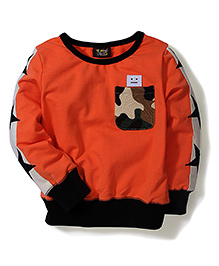Mini Pink Star Print Sweat Shirt - Orange