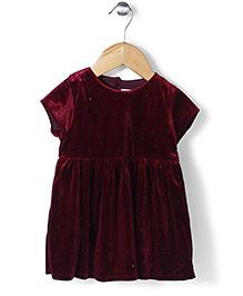 Minikid House Shimmer Velvet Dress - Maroon