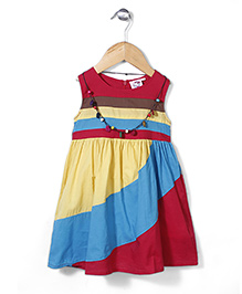 Smile Rabbit Striped Dress - Yellow, Red & Blue