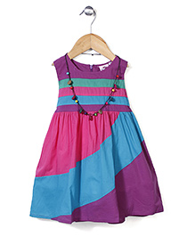 Smile Rabbit Striped Dress - Pink, Purple & Blue