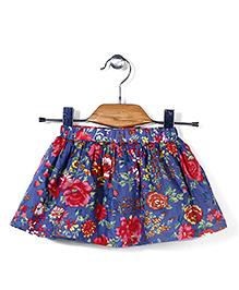 Petit Cucu Rose Print Skirt - Blue