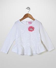 Mini Pink Flower Print Top - Off White