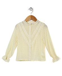 Petit Cucu Lace Embellished Top - Light Yellow