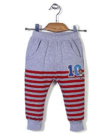 Notty Kid Stripe Print Track Pant - Grey & Red