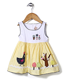 Miss Pretty Bird Print Dress - Yellow