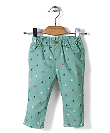 Minikid House Sunflower Print Pant - Green