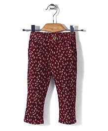 Minikid House Printed Pant - Maroon